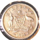 1926 Australia Silver Sixpence Coin KM#25  .0839 ASW
