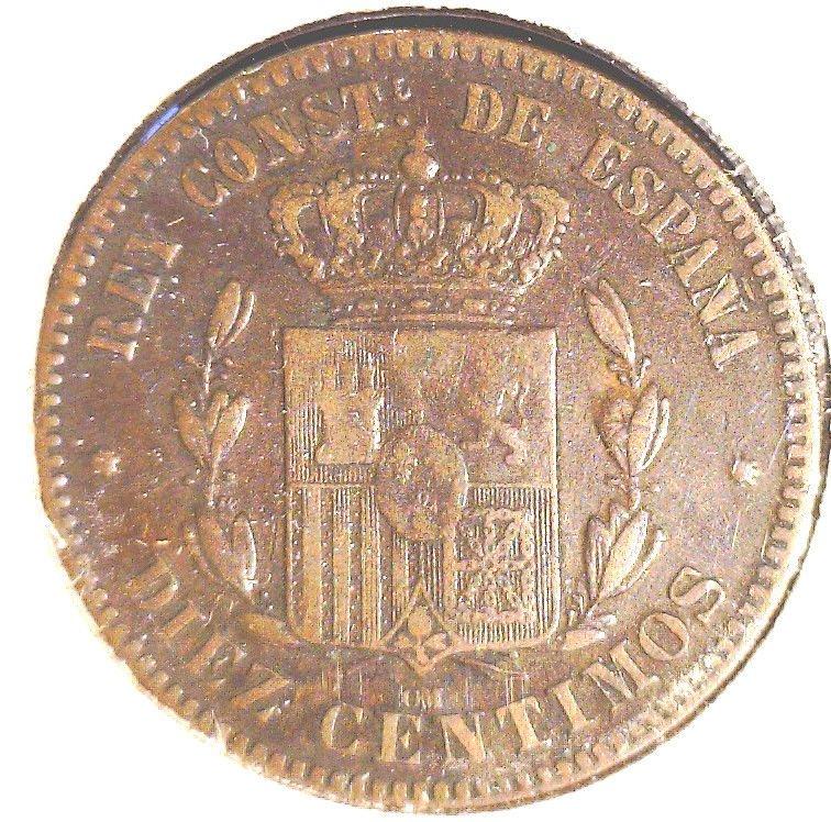 1878 O.M. Spain 10 centimos coin KM#675 Alfonzo XII