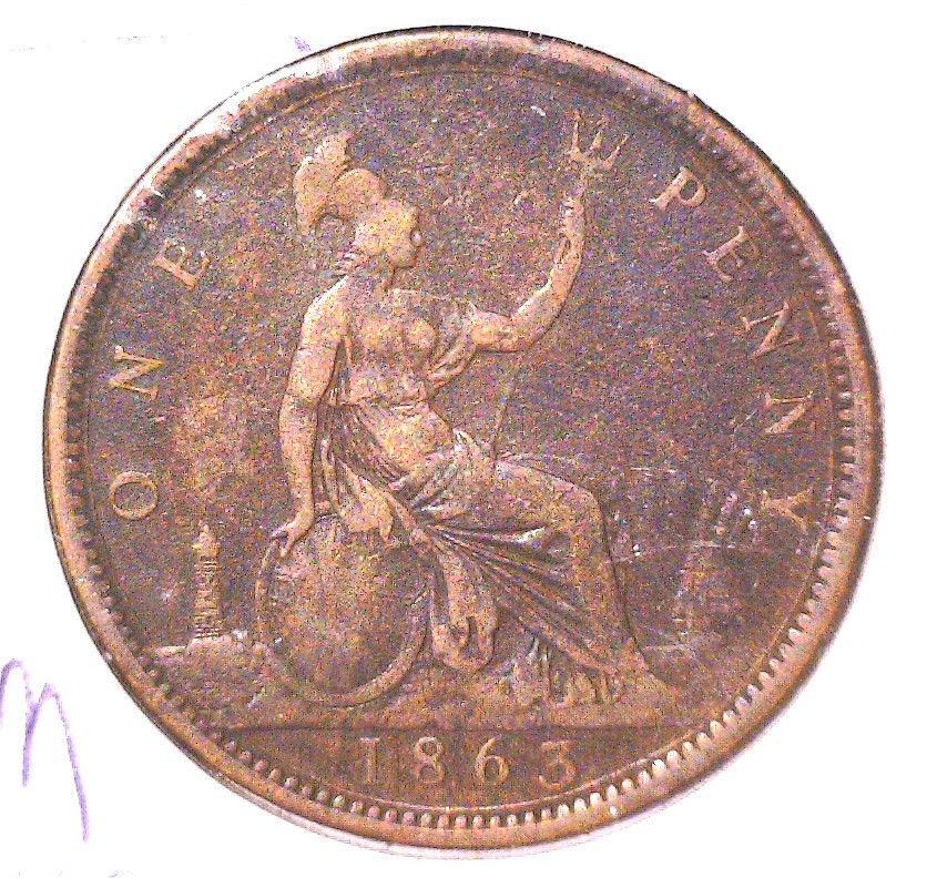 1863 Great Britain Penny KM#749.2 FINE