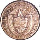 1930 Panama Silver 1/2 Balboa Coin KM#12.1  .3617 ASW