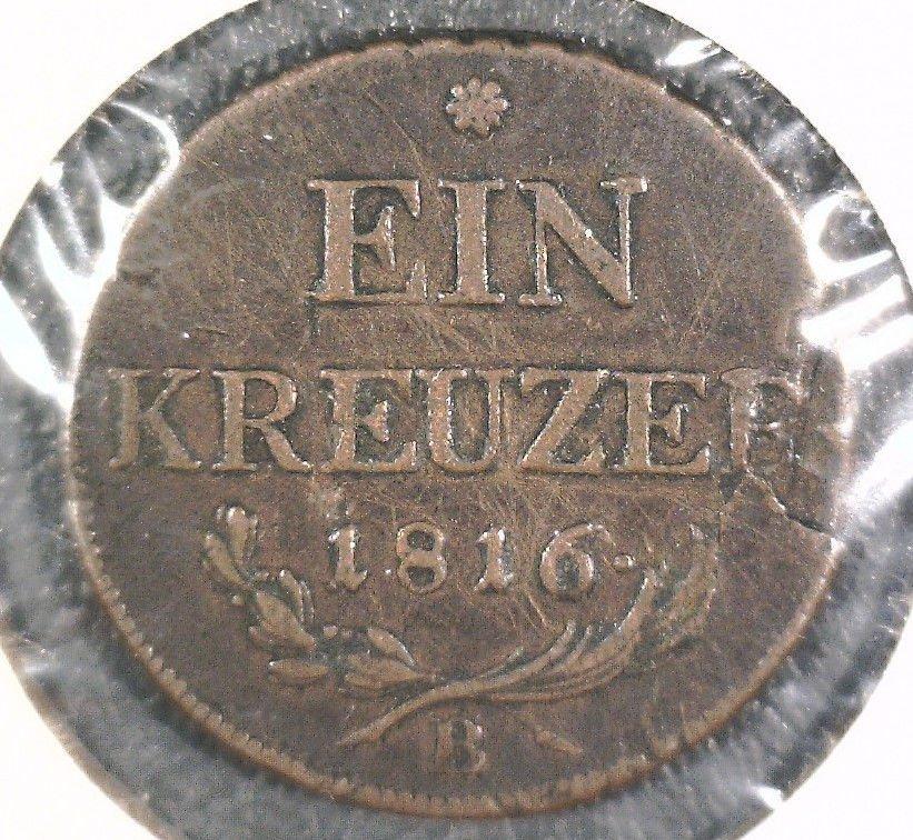 1816 B Austria Ein Kreuzer Coin KM#2113