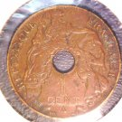 1917 French Indochina 1 centime coin  KM#12.1