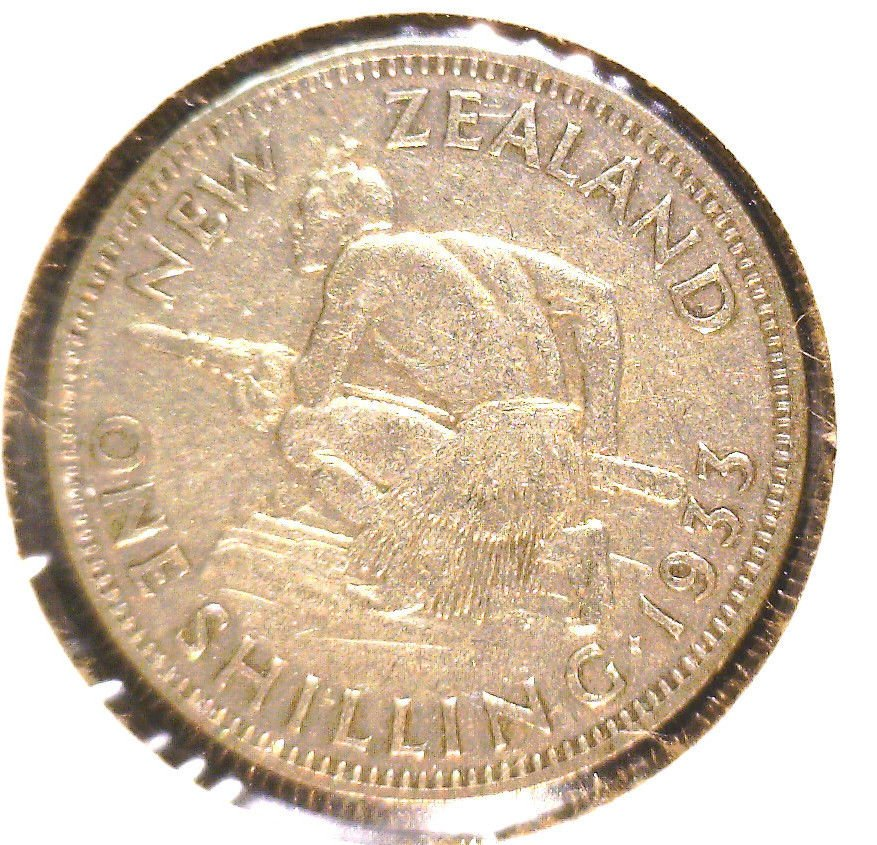 1933 New Zealand Silver Shilling Coin KM#3   .0903 ASW