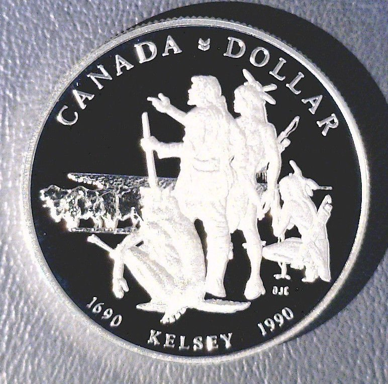 1990 Canada Silver Proof Dollar KM# 170    .3750 ASW Kelsey and Indians