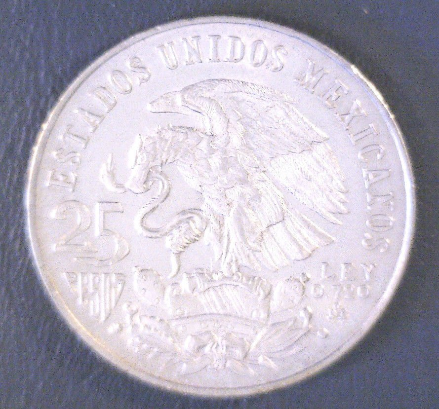 1968  Mexico Olympics 25 Peso Silver Coin Type 1 KM#479.1  BU .5208 ASW
