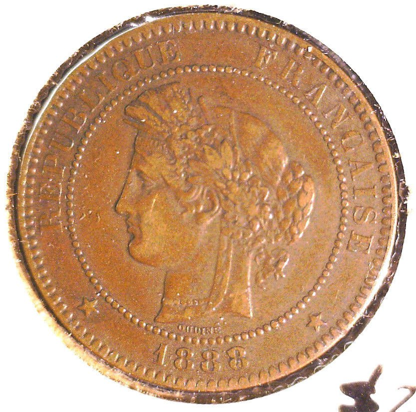 1888 A France 10 centimes coin KM#815.1