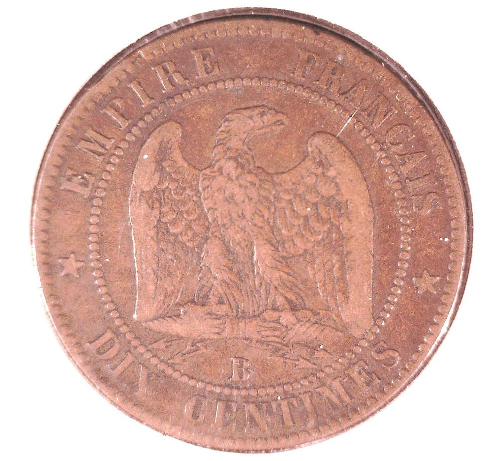 1855 B France 10 centimes coin  KM#771.2