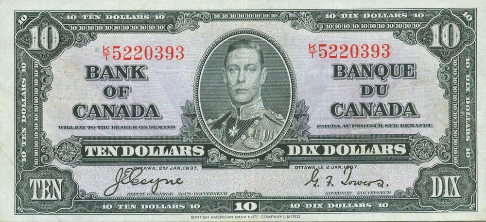 1937 Canada $10 Bank Note King George VI   Pick 61 C  AU About Uncirculated