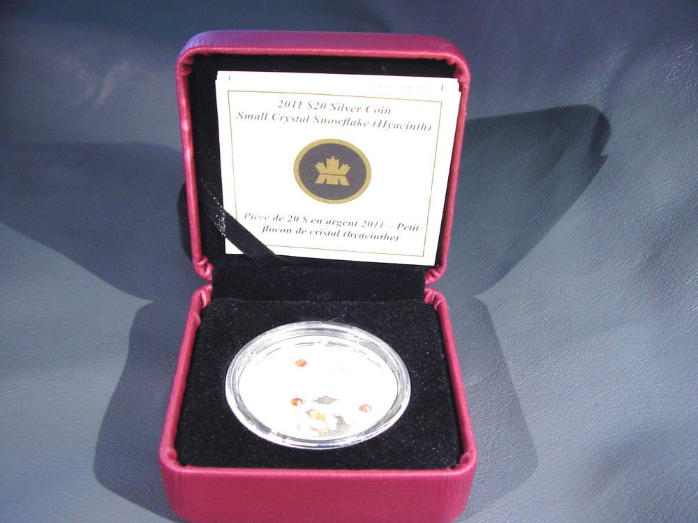 Canada Snowflake Coin $20 Silver Proof 2011 Swarovski  Crystal Hyacinth Ltd. Ed