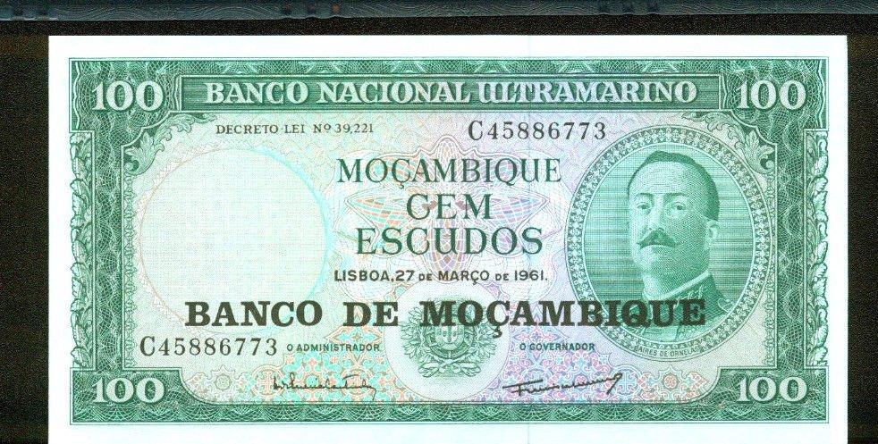 1961 Mozambique 100 Escudos Bank Note Pick# 109 UNCIRCULATED