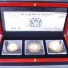 Heritage of Mexico Aztec Culture Bimetallic Silver 3 Coins Set 1993 Wood Box COA