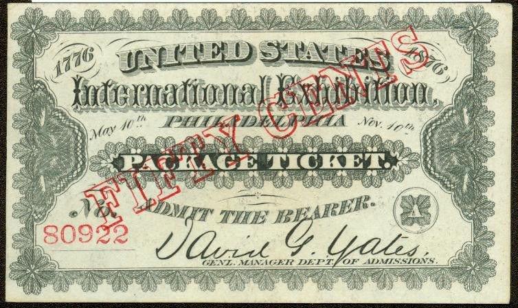 1876 Philadelphia World's Fair WHITE Ticket Crisp UNC  50 cents Red Overprint