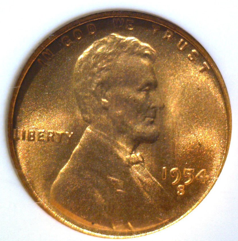 1954 S Lincoln Wheat Cent NGC MS66 RD
