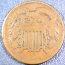 USA 1864  2 cent coin Large Motto Very Good Condition