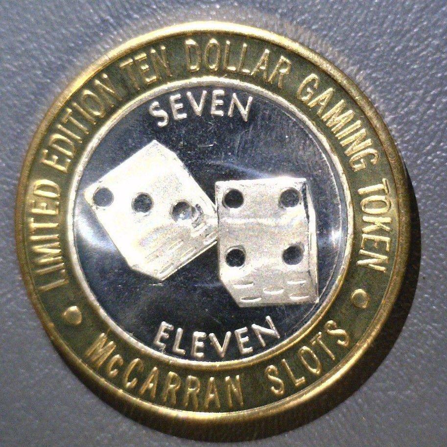 McCarran Airport Slots Silver Strike $10 gaming token .600 ASW .999 fine 7-11
