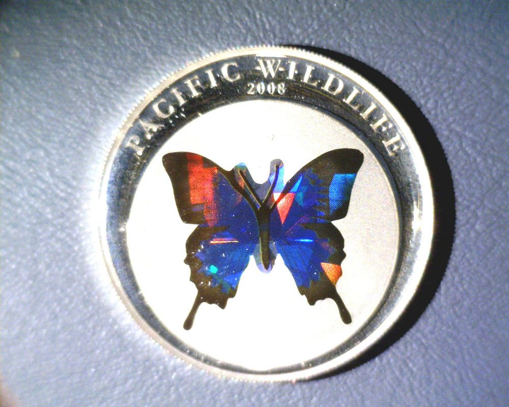 2008 Palau Silver Proof Holographic Blue Butterfly $5 Coin KM#169 .7435 ASW