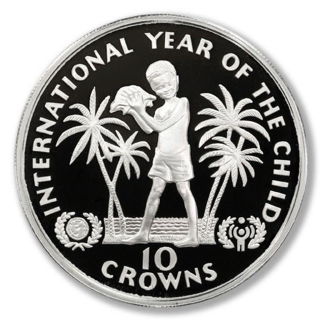 1982 Turks & Caicos Silver Proof 10 crown coin KM#55 .6923 ASW YEAR OF THE CHILD