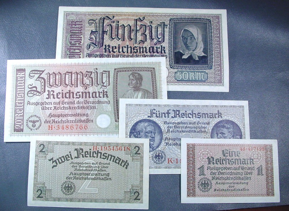German Occupied Territories WWII Reich's Credit Treasury Notes 1 2 5 20 50 RM