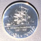 "1987 Canada Specimen Silver Dollar KM#154   .3750 ASW Ship ""John Davis"""