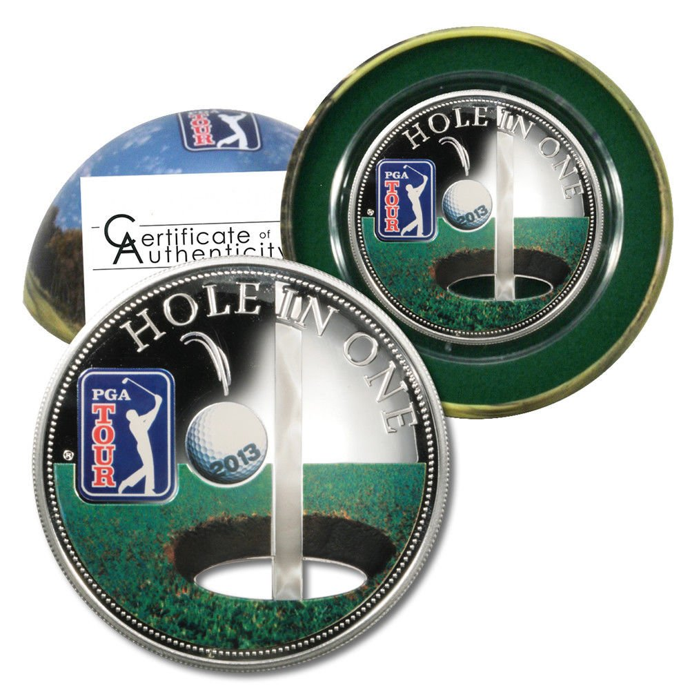 """PGA Golf Coin 2013 Cook Islands $5 Silver Proof-Like """"Hole in One"""" COA .9646 ASW"""