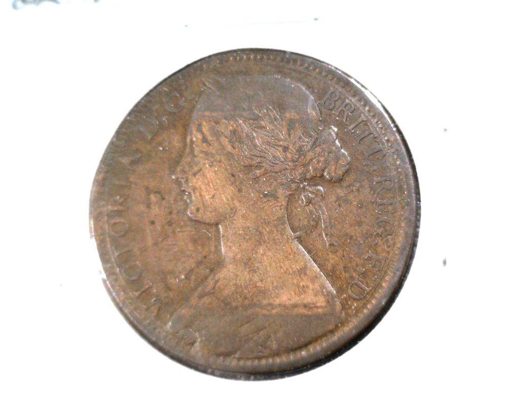 1863 Great Britain One Penny KM# 749.2  Queen Victoria Ship