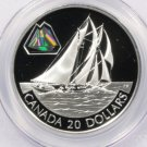 2000 Canada Bluenose Sailboat Silver Proof 20 Dollar Coin KM#397 Hologram