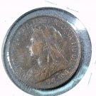 1897 Great Britain Half Penny  KM# 789 Queen Victoria Britannia and Ship #3