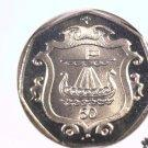 1985 Isle of Man 50 pence prooflike coin  KM#148  Viking Long Boat Ship