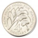 "1970 Dominica FAO Four Dollar Coin BU KM#11 ""Grow More Food for Mankind"""