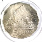 1976 Fiji 50 cent coin BU KM#36  Takia Outrigger Canoe with Sailor