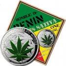 World's First Pure Silver Proof Legal Tender Marijuana Coin  .999 fine    Benin