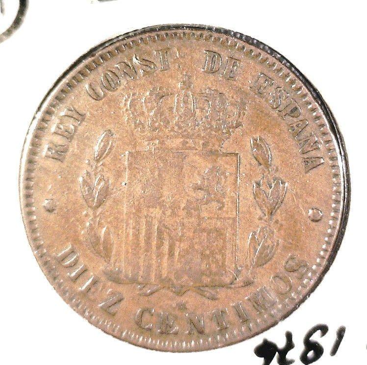 1876 D.M. Spain 10 Centimos Coin  KM#675