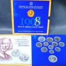 1998 Italy 12 coin BU set 2 silver coins original packaging Bernini 400th Anniv