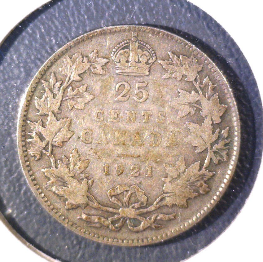 1921 Canada 25 cent coin KM#24a