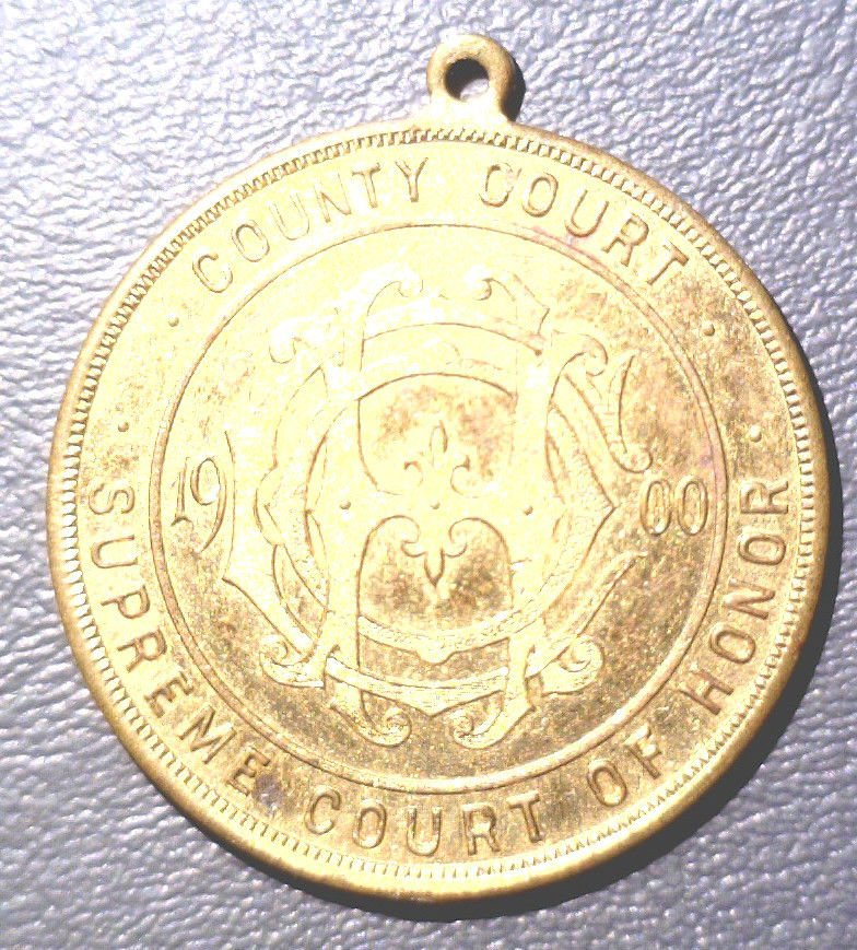1900 Newark NJ - Supreme Court of Honor Gilded Medal XF - W & H Co. 38 mm