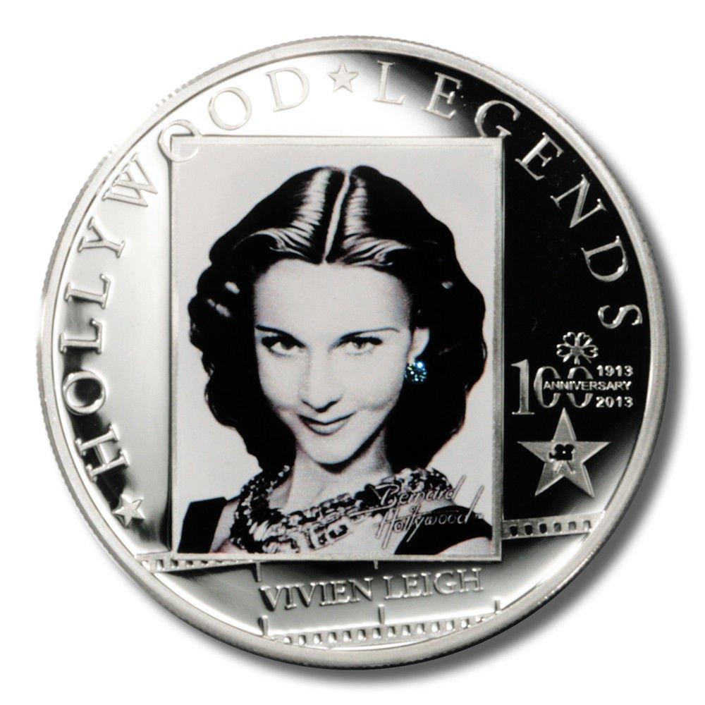 2013 Vivien Leigh Coin Cook Islands Sterling Silver Proof Swarovski Crystal
