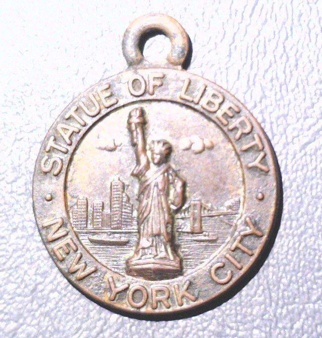 1900 Attleboro MA Statue of Liberty Bronze Souvenir Medal FINE Bates & Klinke