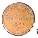 1870 B German States Prussia 3 pfenninge coin  XF  KM#482 120 einen thaler
