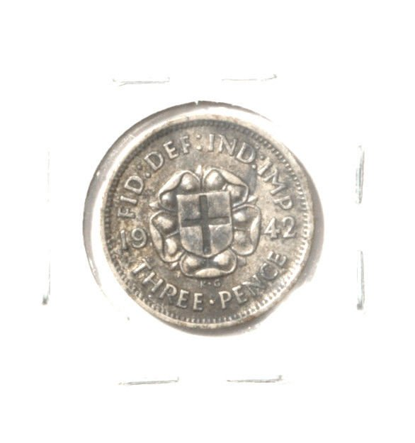 1942 Great Britain 3 pence silver coin KM#84  .0227 ASW