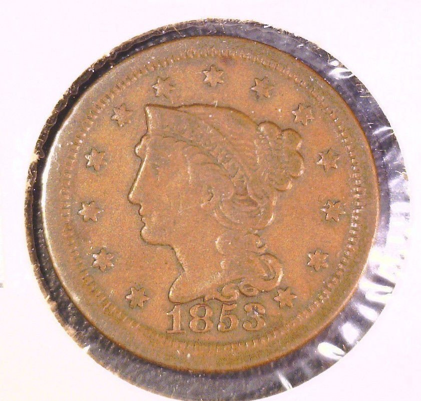 1853 US Braided Hair Large Cent  Fine Condition