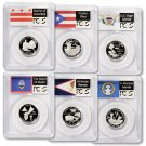 2009 S Set of 6 Silver Proof Washington DC & Territorial Quarters PCGS PR69DCAM