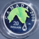2008 Canada Silver $20 Proof Coin KM#810 Crystal Raindrop  OGP COA  Only 15,000