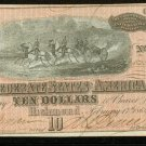 1864 Confederate States of America $10 Note Type 68 CU Horses Cannon Richmond