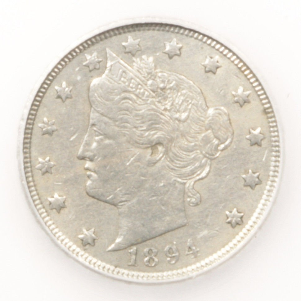 1894 Liberty V Nickel XF  in a  SEGS slab