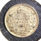 1920 Canada Silver 5 cent coin KM#22a   .0346 ASW   AU details
