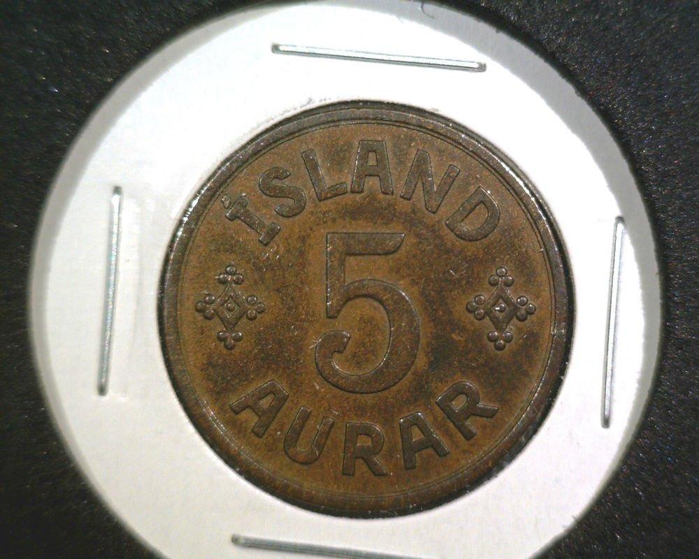 1940 Iceland 5 Aurar Coin Island    KM#7.2   AU
