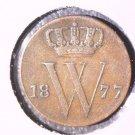 1877 Netherlands 1/2 Cent Coin KM#90 Dutch Holland