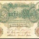 1910 Germany 50 Mark Note Pick #41  German Empire   X