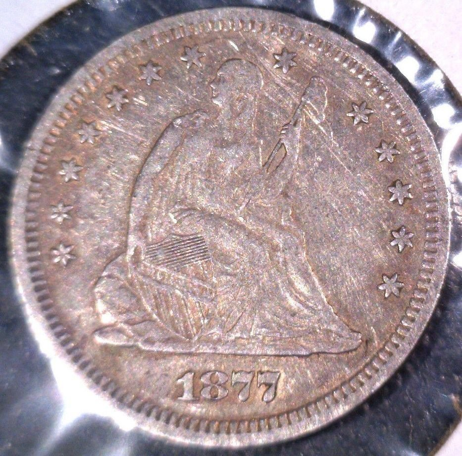 1877 S Seated Liberty Quarter  XF  US 90% Silver