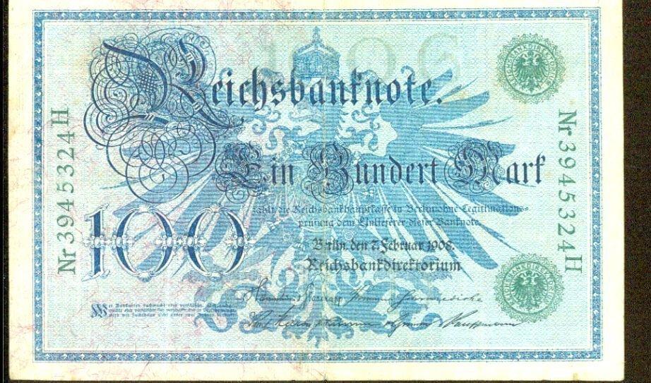 1908 Germany 100 Mark Note Pick #34  German Empire   X